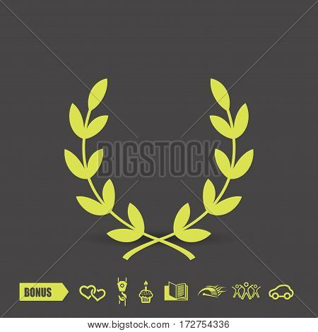 Pictograph of laurel wreath. Vector concept illustration for design. Eps 10