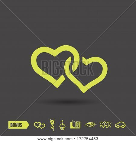 Pictograph of two hearts. Vector concept illustration for design. Eps 10
