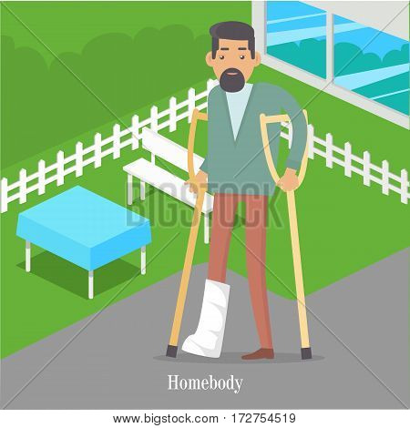 Homebody on crutches with broken leg walking in park. Male handicapped person. Man on vacation with medical sick-leave certificate. Disable man walks near table and bench. Vector illustration in flat