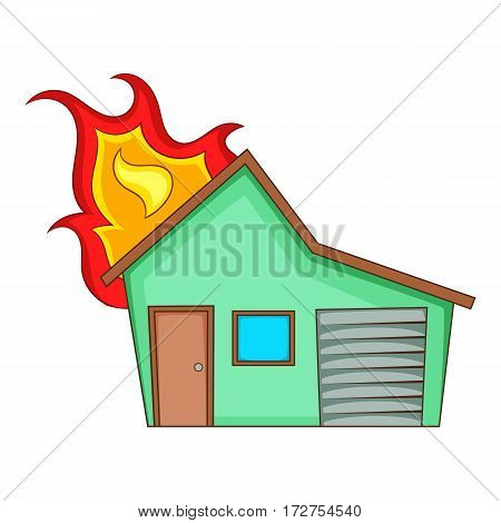 House on fire icon. Cartoon illustration of house on fire vector icon for web