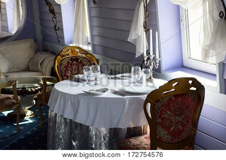 Saint Petersburg, Russia, 31 Jul 2016: luxurious interior of restaurant on ship