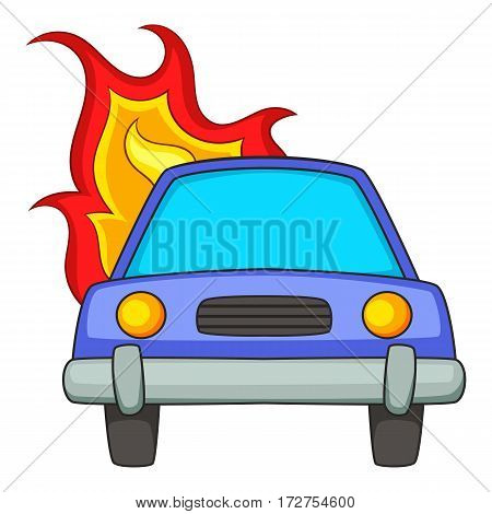 Burning car icon. Cartoon illustration of burning car vector icon for web