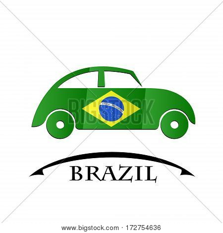 car icon made from the flag of brazil