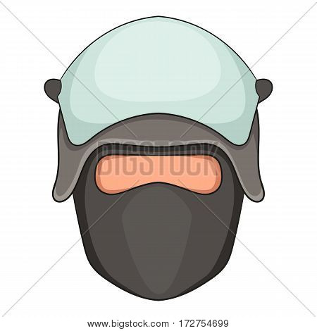 Policeman head in a face mask icon. Cartoon illustration of policeman head in a face mask vector icon for web