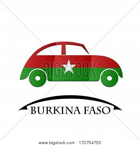 car icon made from the flag of Burkina Faso