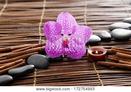 stones and candle,orchid, cinnamon on bamboo mat