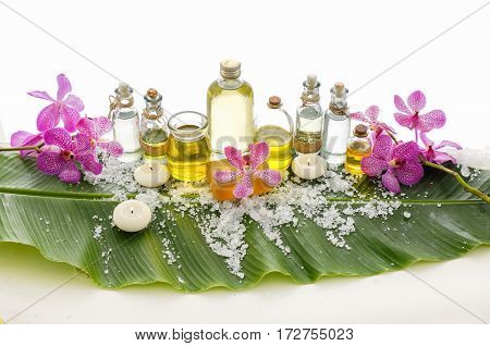 Spa set on banana leaf with branch pink orchid