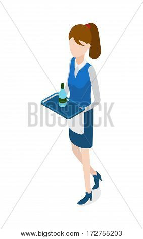 Restaurant. Isolated woman in waiter uniform holding metal tray. Bottle of beverage standing on salver. Full length portrait of walking waitress. Blue skirt and white apron. Flat design. Vector