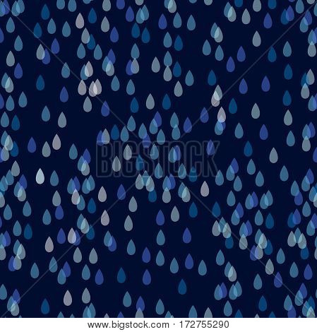 Seamless vector pattern with transparent blue water drops.