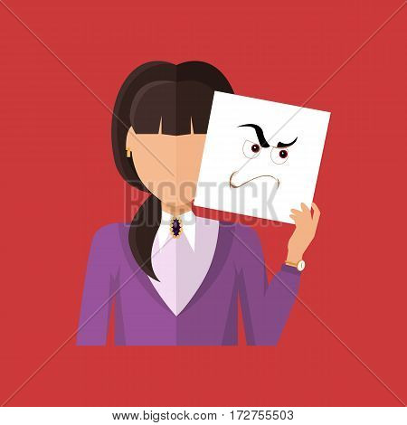 Woman character avatar vector. Flat style. Female portrait with anger, wrath, insult, skepticism, contempt, aggression, envy, emotional mask. Illustration for identity in Internet mood concepts icon