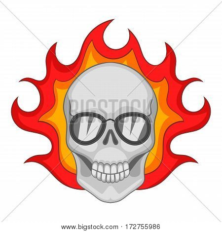 Flaming skull icon. Cartoon illustration of flaming skull vector icon for web