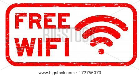 Grunge red free wifi with signal icon square rubber seal stamp