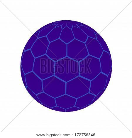 blue ball. molecule or virus. circle of polygons