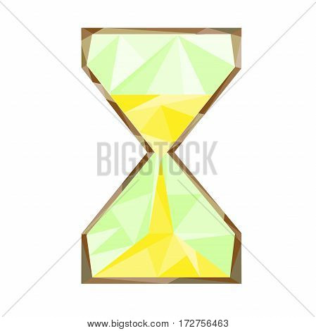 sand hourglass isolated by triangles polygon. Low-polly stylle