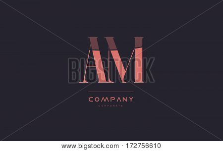 Am A M Pink Vintage Retro Letter Company Logo Icon Design