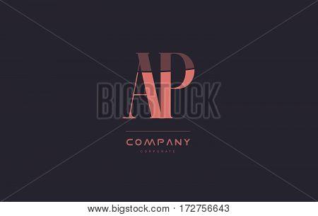 Ap A P Pink Vintage Retro Letter Company Logo Icon Design