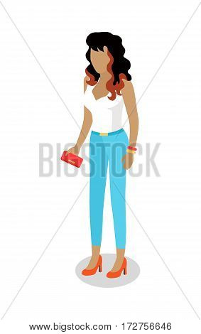 Street food buyer isolated. Woman in casual clothes with phone in hand. Cartoon character wants to buy a snack. Concept illustration for street food consumption. Quick snack. Fast food. Vector