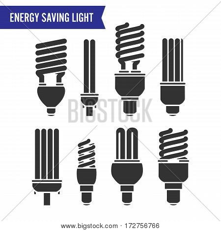 Energy Saving Light Vector. Set Energy Saving Light Bulbs Icon.