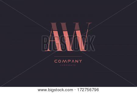 Aw A W Pink Vintage Retro Letter Company Logo Icon Design