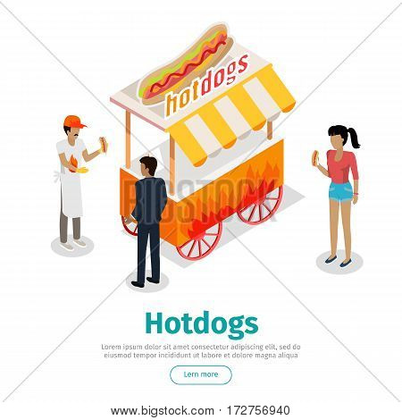 Hotdogs concept web banner. Street cart store on wheels with hotdogs, seller and clients buying food isometric projection vector illustration on white background. For street eatery landing page design