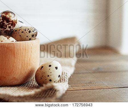 Useful quail eggs. The concept of healthy eating and vegetarianism.