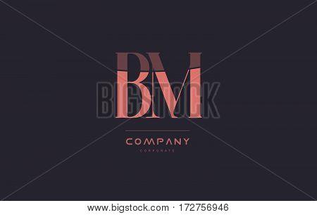 Bm B M Pink Vintage Retro Letter Company Logo Icon Design