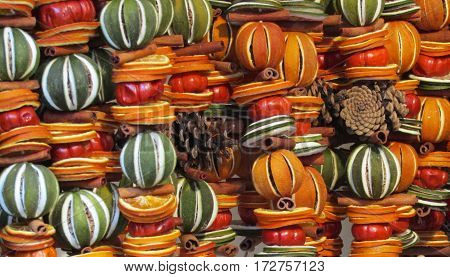 Brightly Coloured Decorations Made From Dried Fruit.