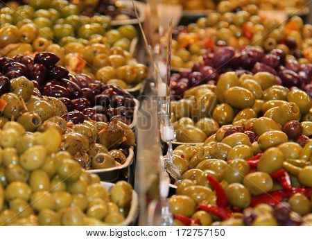 A Display of Olives for Sale at a Market.