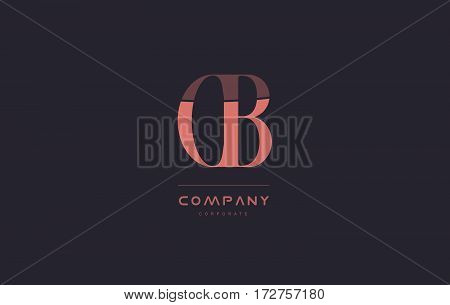 Cb C B Pink Vintage Retro Letter Company Logo Icon Design