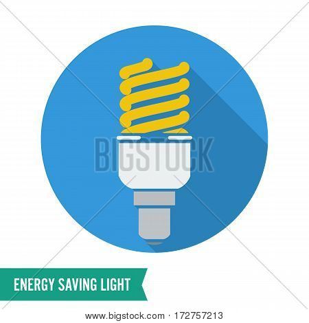 Energy Saving Light Vector Illustration. Fluorescent Light Bulb Icon.