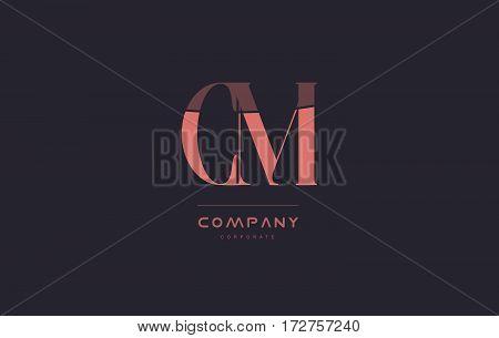 Cm C M Pink Vintage Retro Letter Company Logo Icon Design