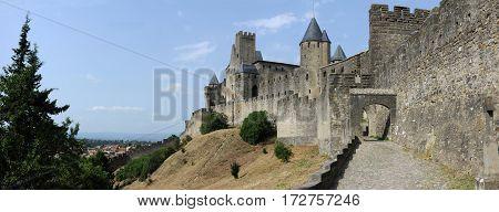 Carcassonne,France - 28 June 2012: The fort of Carcassonne on France