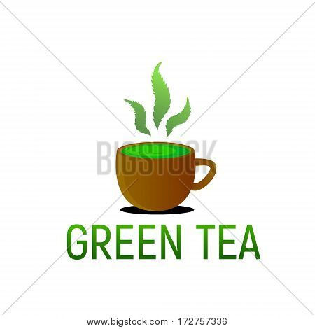 A cup of green tea of cannabis herb