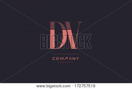 Dv D V Pink Vintage Retro Letter Company Logo Icon Design