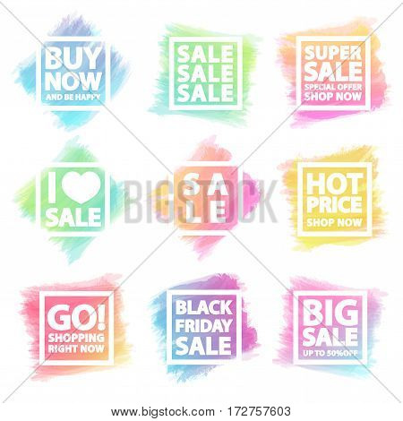 Black friday sale banner set for stocks such as black friday, promotion, special offer, advertisement, hot price and discount poster with different color watercolor brush strokes shapes -stock vector