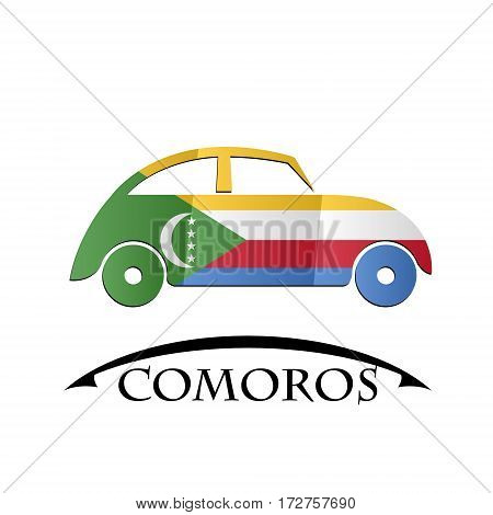 car icon made from the flag of Comoros
