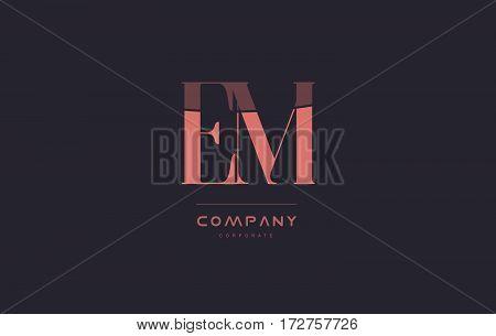 Em E M Pink Vintage Retro Letter Company Logo Icon Design