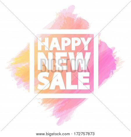 Happy new sale banner for stocks such as black friday sale, promotion, special offer, advertisement, hot price and discount poster watercolor brush strokes shapes with frame -stock vector