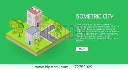 City street block in isometric projection. Urban landscape fragment with road, buildings, trees, lawn, ground layer. For gaming environment, app, infographic, icon design. Isolated on green background