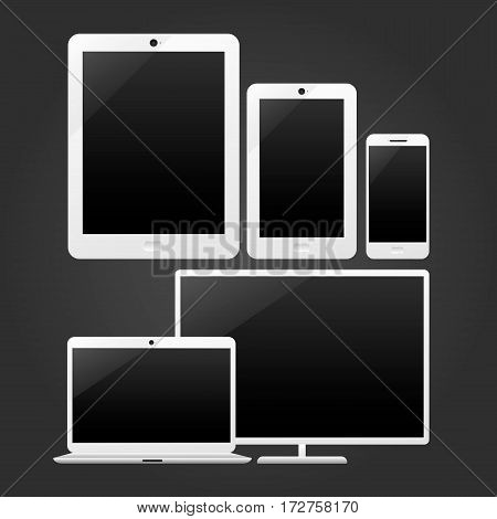 Devices for adaptive design preview. Vector illustration