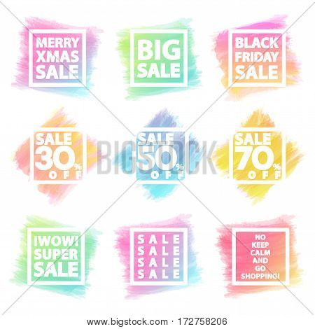 Black friday sale and Merry Christmas sale banner set for stocks such as black friday, promotion, special offer, advertisement, hot price and discount poster different  watercolor shapes -stock vector