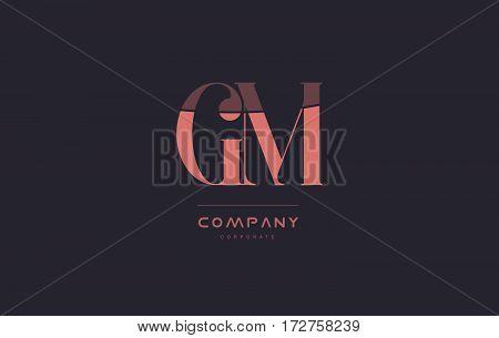 Gm G M Pink Vintage Retro Letter Company Logo Icon Design