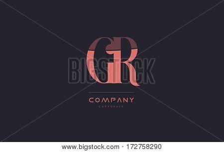 Gr G R Pink Vintage Retro Letter Company Logo Icon Design