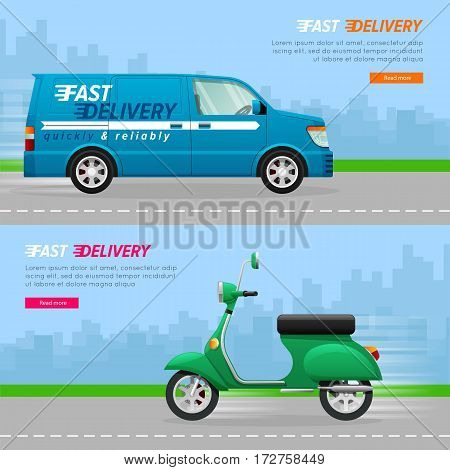 Transport. Collection of two automobile icons. Blue delivery minivan with a white line. Fast four-wheeled mean of transportation. Illustration of isolated green scooter. Flat cartoon design. Vector