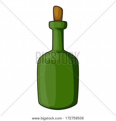 Retro green wine bottle icon. Cartoon illustration of retro green wine bottle vector icon for web