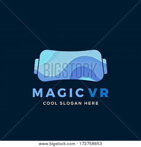 Magic Virtual Reality Abstract Vector Illustration, Icon, Sign, or Logo Template. Electronic Glasses Headset Silhouette with Blue Waves. On Dark Blue Background.