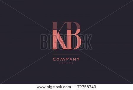 Kb K B Pink Vintage Retro Letter Company Logo Icon Design