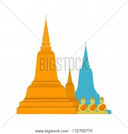 Thailand templ with Buddha. Thai famous attractions in flat. Thailand travel poster element. Element for creating infographics. Travel composition. Vector illustration on white background.