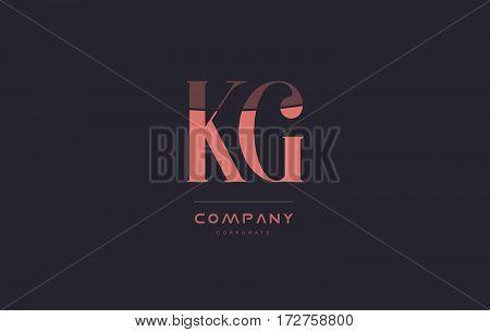 Kg K G Pink Vintage Retro Letter Company Logo Icon Design