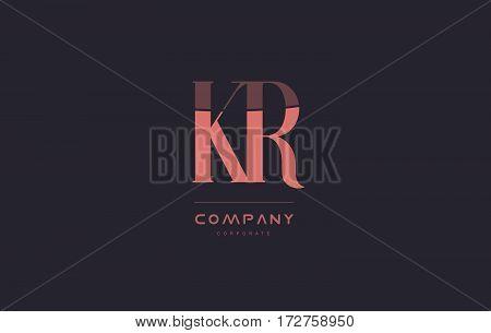 Kr K R Pink Vintage Retro Letter Company Logo Icon Design